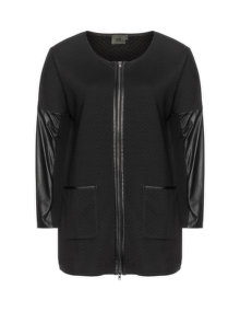 Veto Faux leather inserted cotton jacket Black