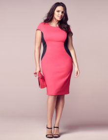 navabi Cut out bicolour dress Coral-Orange / Black