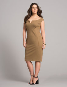 navabi Off-shoulder evening dress Khaki-Green