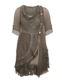 Nostalgia Jersey dress and knit vest Taupe-Grey