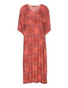 Mat Batwing sleeves maxi dress Red / Versicolour
