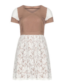 Manon Baptiste Lace cap sleeve dress Light-Brown / Ivory-White