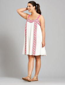 Zay Embroidered cotton dress Ivory-White / Pink