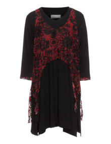 Turbulence Combined dress Black / Bordeaux-Red