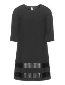 Manon Baptiste A-lined georgette faux leather dress  Black