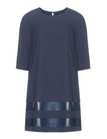 Manon Baptiste A-lined georgette faux leather dress  Dark-Blue