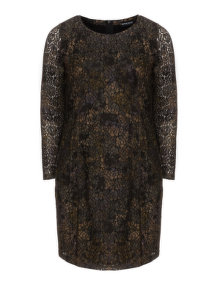 Samoon Tapered lace dress Green / Black
