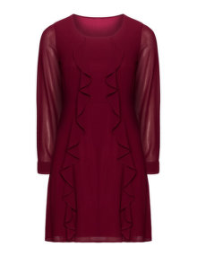 Manon Baptiste Flared chiffon dress Bordeaux-Red